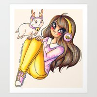 puppycat Art Prints featuring Bee&PuppyCat by CreativeCarrah