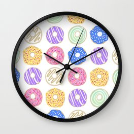 Colorful Donuts Illustration Wall Clock
