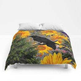CROW & SUNFLOWERS WILDERNESS GREY ART Comforters