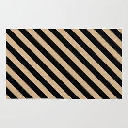 Tan Brown and Black Diagonal LTR Stripes Rug