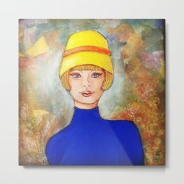 Lady in a yellow hat Metal Print