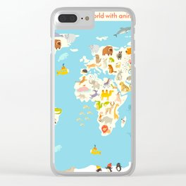 Animals world map. Colorful cartoon vector illustration for children and kids Clear iPhone Case