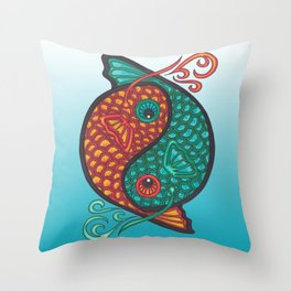 Pices Zodiac Symbol in yin yang Throw Pillow