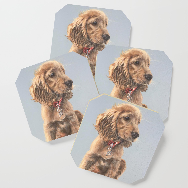 Golden Cocker Spaniel Puppy Coaster By Rosiemarkartwork Society6