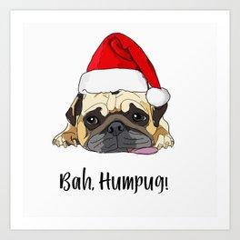 Bah Humpug Santa Dog Art Print