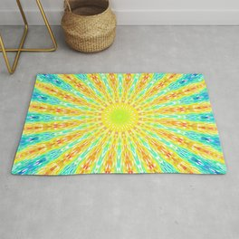 Golden Sunburst Colorful Rays Rug