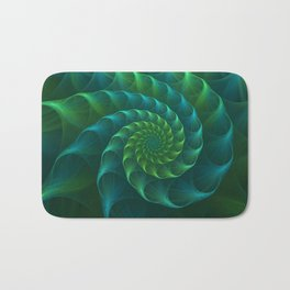 Blue And Green Nautilus Shell Bath Mat