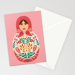 Russian Nesting Doll with Cherry Folk Florals Stationery Cards