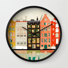 Travel europe city shape abstract art Wall Clock