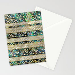 Tribal Ethnic  Pattern Gold on Abalone Shell and Pearl Stationery Cards