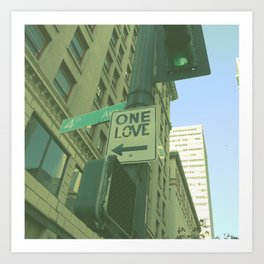 ONE LOVE STREET SIGN AT SEATTLE  Art Print