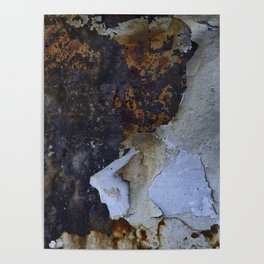 Old white paint on rusty metal Poster