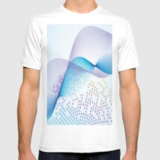 Light Blue Digital Abstract White Mens Fitted Tee MEDIUM