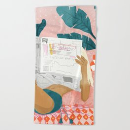 Morning News Beach Towel