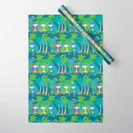 Monkeys Meditating in the Jungle Seamless Pattern Wrapping Paper