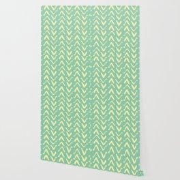 Modern Brush Stroke Chevrons - Green & Yellow Wallpaper
