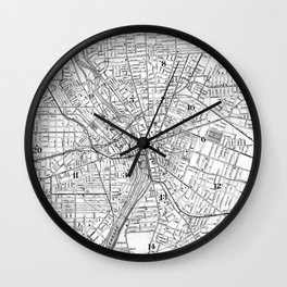 Vintage Map of Rochester NY (1901) BW Wall Clock