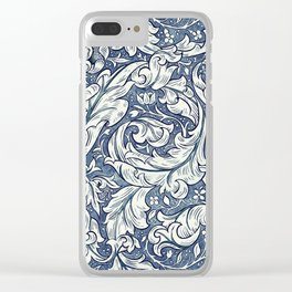 William Morris Navy Blue Botanical Pattern 3 Clear iPhone Case