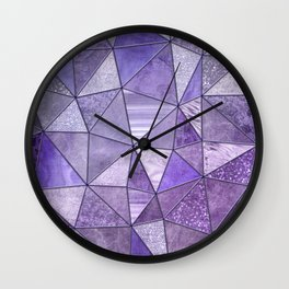 Purple Lilac Glamour Shiny Shimmering Patchwork Wall Clock
