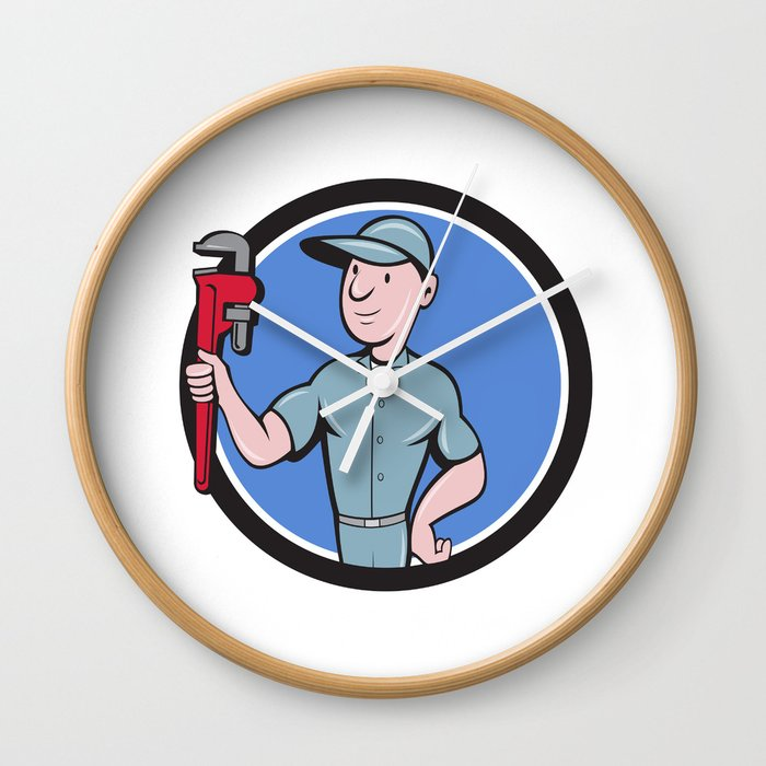 Handyman Monkey Wrench Circle Cartoon Wall Clock