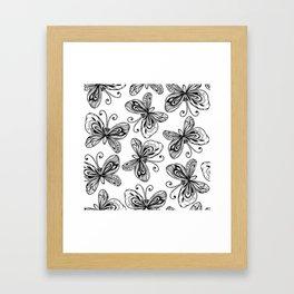 Doodle butterflies pattern Framed Art Print
