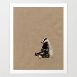 Badger Knitting a Scarf Art Print