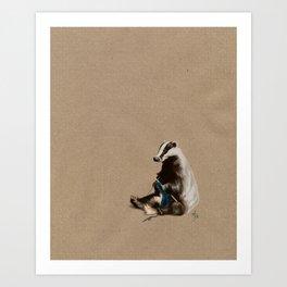 Badger Knitting a Scarf Art Print