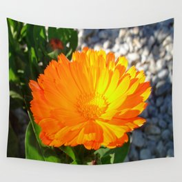 Bright Orange Marigold In Bright Sunlight Wall Tapestry