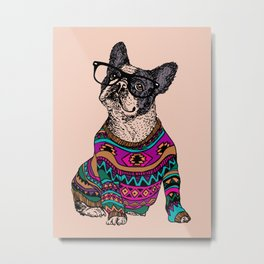 hipster frenchie Metal Print