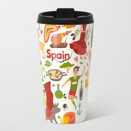 Spain map vector, contour. Illustrated map of Spain for children Travel Mug