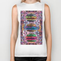 holographic Biker Tanks featuring black burger doom zone by STORMYMADE