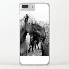 Horses Cuddling Clear iPhone Case