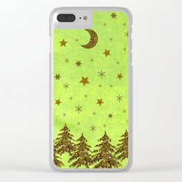 Sparkly Christmas tree, stars on abstract green paper Clear iPhone Case