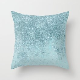 Modern abstract teal glitter blush tones marble Throw Pillow