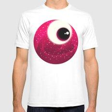 Red Dot Eye MEDIUM White Mens Fitted Tee