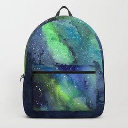 Galaxy Aurora Northern Lights Nebula Space Watercolor Backpack