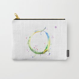 Letter O watercolor - Watercolor Monogram - Watercolor typography - Floral lettering Carry-All Pouch