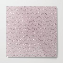 Pink Sparkle Chevron Patterns Metal Print