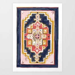 Rugs-Navy Art Print