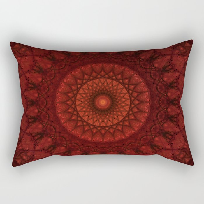 Dark and light red mandala Rectangular Pillow