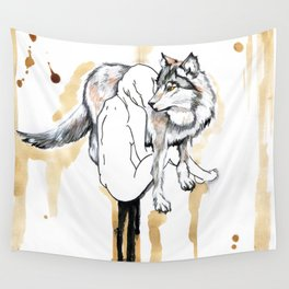 The Girl And The Wolf Wall Tapestry