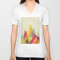 mountain V-neck T-shirts featuring Holy Mountain by Picomodi