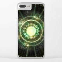 Green Chaos Clock, Steampunk Alchemy Fractal Mandala Clear iPhone Case