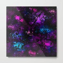 Black Lace Galaxy Metal Print