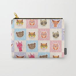 funny animals muzzle owl raccoon unicorn cow bear cat seamless pattern with pink lilac blue Carry-All Pouch