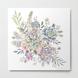 succulent watercolor 8 Metal Print