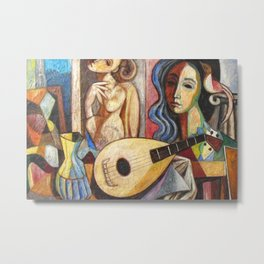 Mandolin and Female Mediterranean Musicians still life by Antonio Diego Voci Metal Print