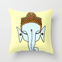 ganesha Throw Pillows featuring Ganesha by RaJess