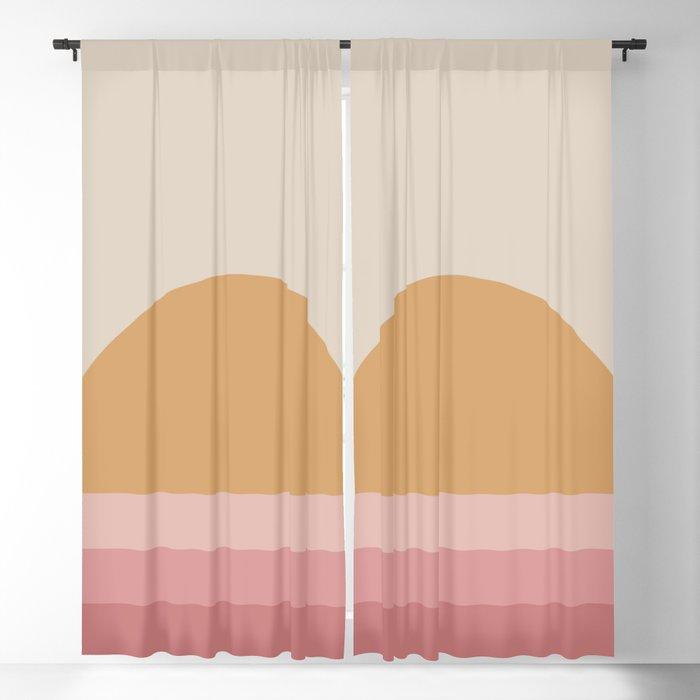 Minimal Retro Sunset / Sunrise - Warm Pink Blackout Curtain