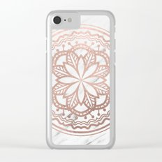 Marble mandala - soft rose gold on white Clear iPhone Case